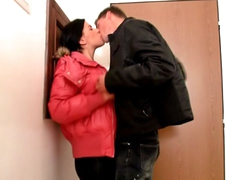 Brunette cute sweetheart sucking and getting fucked by big cock