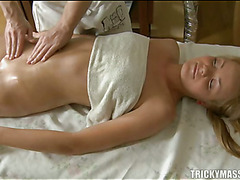 Demure lass gets lusty plowing after sensual oil rubbing