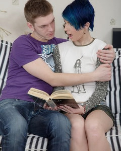 Creampie-Angels.com - Blue-haired teen enjoys hot sex and then gets her pussy creamed