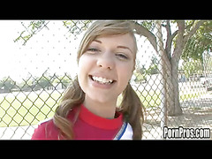 Cute virginal Nicole is a cheerleader at her high school. That Babe does what all typical high school cheerleaders do: go to the mall, hang out with allies and get dripping wet when they have a ramrod in front of 'em. Nicole is a bit different, this babe copulates like that babe's been around! So that babe definitely knows how to raise any weenie's spirits! Go Facial Go!!!