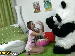 In this unusual sex clip u'll watch a beautiful teenage hotty playing with toy. But it's not just a toy, it's a large panda bear, and this guy's so fun to play with! This Chab can do anything the angel wants, but this honey should strip stripped in return. But imagine the angel's surprise when that honey saw panda's huge strap on! This Chick had not at any time thought of him as sex partner previous to, but since this chab's so well-equipped and horny, why not go for a nasty sex play with him? So the panda bear banged the breasty teenage in all possible poses ...