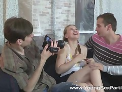 Those two horny college guys have a ideal plan to tempt a cute stupid teeny they met the other day. They tell her they want to do a softcore erotic photo session for their modeling agency internship, then one thing leads to some other and this babe ends up getting DPed on camera. A great threesome fuck like that might not make her a model, but it definitely made her pleased.