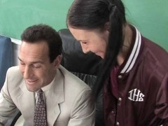 Sweet schoolgirl seduces an adult male to use his ramrod