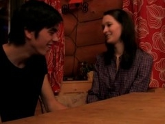 Brunette hair Hair disrobes and enjoys sex on a wooden table