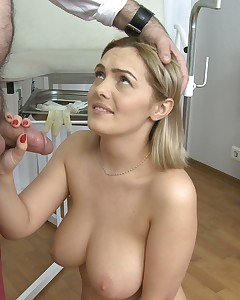 Teen with great boobs gets her vagina fucked by huge doctor's pecker